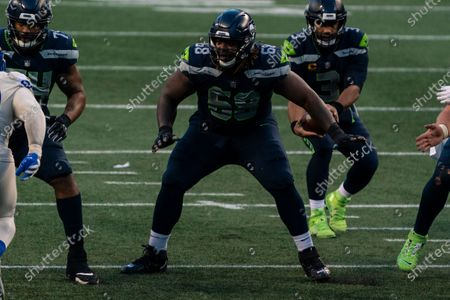Seattle Seahawks offensive lineman Damien Lewis is pictured during the second half of an NFL football game against the Los Angeles Rams, in Seattle. The Seahawks won 20-9
