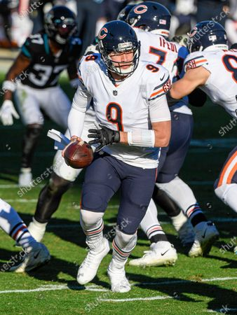 Jacksonville, FL, U.S: Chicago Bears quarterback Nick Foles (9) during 2nd half NFL football game between the Chicago Bears and the Jacksonville Jaguars. Bears defeated Jags 41-17 at TIAA Bank Field in Jacksonville, Fl
