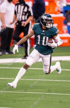 Philadelphia Eagles wide receiver DeSean Jackson (10) carries the ball during the first half of an NFL football game against the Dallas Cowboys, in Arlington, Texas