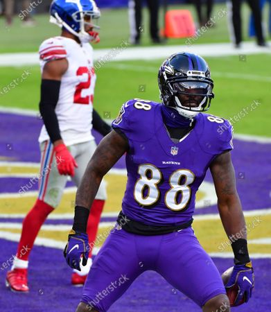 Baltimore Ravens wide receiver Dez Bryant (88) scores a touchdown against the New York Giants on an 8-yard pass reception during the second half at M&T Bank Stadium in Baltimore, Maryland, on Sunday, December 27, 2020. Baltimore defeated New York 27-13.
