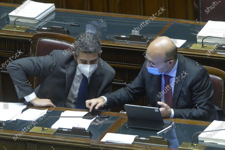 Chamber of Deputies discussion and final vote on the budget law in the photo Riccardo Fraccaro Antonio Misiani