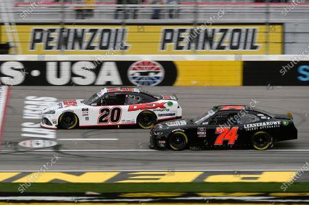 #20: Harrison Burton, Joe Gibbs Racing, Toyota Supra Dex Imaging, #74: Mike Harmon, Mike Harmon Racing, Chevrolet Camaro Finlay Cadillac