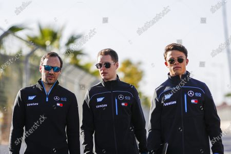 Gary Paffett, Reserve and Development Driver and Sporting and Technical Advisor for Mercedes Benz EQ, Stoffel Vandoorne (BEL), Mercedes Benz EQ and Nyck De Vries (NLD), Mercedes Benz EQ