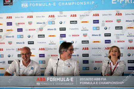 Christian Silk - Team Principal NIO 333 FE Team, Mark Preston, Team Principal, DS Techeetah and Susie Wolff, Team Principal, Venturi during a press conference.