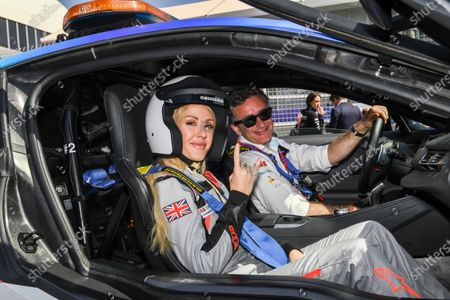 Singer Ellie Goulding wiht Alejandro Agag, Chairman of Formula E in the BMW i8 Safety car