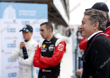 Alejandro Agag, Chairman of Formula E, Sébastien Buemi (CHE), Nissan e.Dams, Nissan IMO2 and Nyck De Vries (NLD), Mercedes Benz EQ, EQ Silver Arrow 01