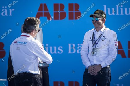 Alejandro Agag, Chairman of Formula E gives Bastien Schupp, DS Techeetah the constructor's trophy on the podium