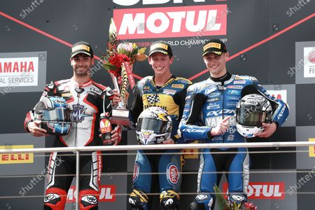 Stock Image of Race winner Andrea Locatelli, BARDAHL Evan Bros. WorldSSP Team, second place Raffaele De Rosa, MV Agusta Reparto Corse, third place Jules Cluzel, GMT94 Yamaha.