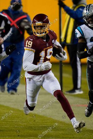 Washington Football Team wide receiver Robert Foster (19) running during an NFL football game, in Landover, Md