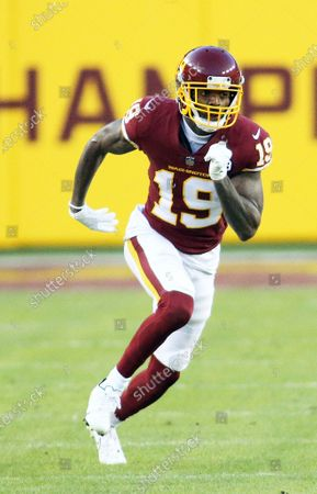 Washington Football Team wide receiver Robert Foster (19) in action during an NFL football game against the Carolina Panthers, in Landover, Md