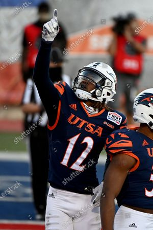 Stock Image of Wide receiver Joshua Cephus (12) celebrates after a touchdown catch in the third quarter during the First Responder Bowl NCAA college football game against Louisiana-Lafayette in Dallas
