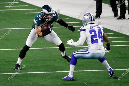 Philadelphia Eagles tight end Zach Ertz (86) attempts to get past Philadelphia Eagles cornerback Darius Slay (24) after catching a pass in the second half of an NFL football game in Arlington, Texas, Sunday, Dec. 27. 2020