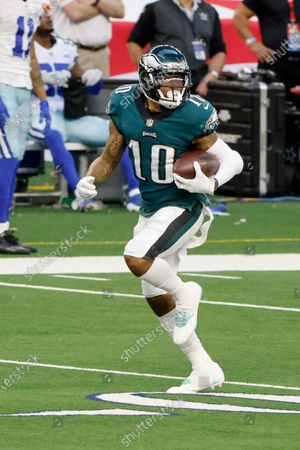 Philadelphia Eagles wide receiver DeSean Jackson (10) runs for a touchdown after a reception during an NFL Football game in Arlington, Texas