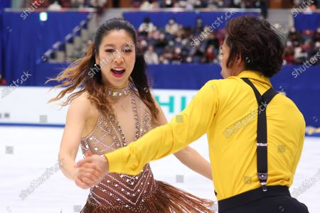 Stock Photo of Kana Muramoto & Daisuke Takahashi - Figure Skating :  Japan Figure Skating Championships 2020  Ice Dance Rhythm Dance at BIG HAT in Nagano, Japan.