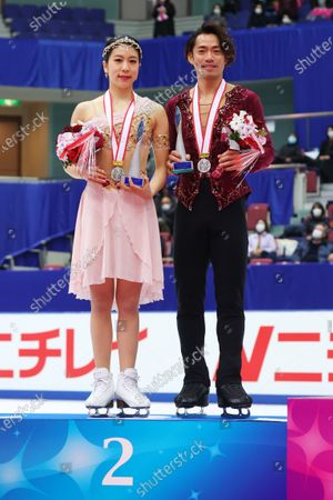 Stock Image of Kana Muramoto & Daisuke Takahashi - Figure Skating :  Japan Figure Skating Championships 2020  Ice Dance Award ceremony at BIG HAT in Nagano, Japan.