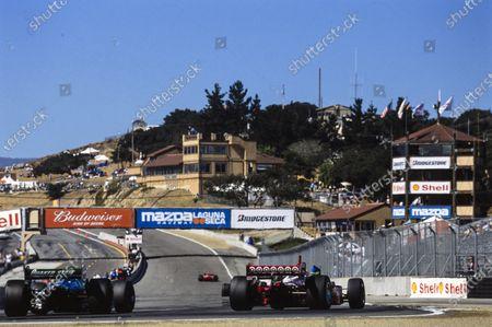 Kenny Bräck, Chip Ganassi Racing, Lola B02/00 Toyota, battles with Adrián Fernández, Lola B02/00 Honda.