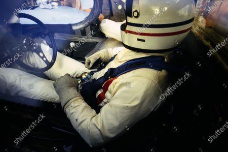 Derek Bell sits in the cockpit of his John Wyer Automotive Engineering, Porsche 917 LH.