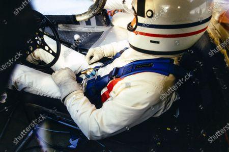 Derek Bell sits in the cockpit of his John Wyer Automotive Engineering Porsche 917 LH.