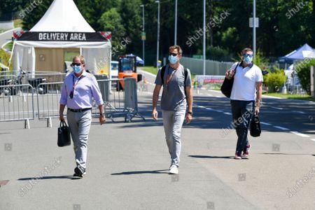 Martin Brundle, Sky TV, Jenson Button, Sky TV and David Croft, Sky TV arrive at the track