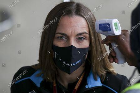 Claire Williams, Deputy Team Principal, Williams Racing is temperature checked