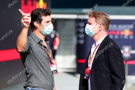 Stock Photo of Mark Webber, Presenter and David Coulthard, Presenter