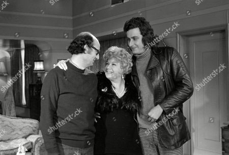 Behind the scenes studio recording featuring Shelley Winters, with tv production crew including maybe director John Reardon