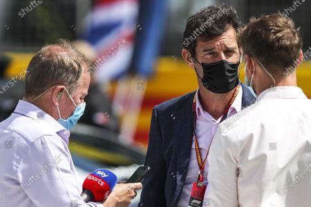 Martin Brundle, Sky TV, and Jenson Button, Sky TV, talk to Mark Webber