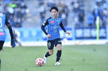 Kawasaki Frontale's Ryota Oshima during the Emperor's Cup JFA 100th Japan Football Championship Semi-final match between Kawasaki Frontale 2-0 Blaublitz Akita at Kawasaki Todoroki Stadium in Kanagawa, Japan.