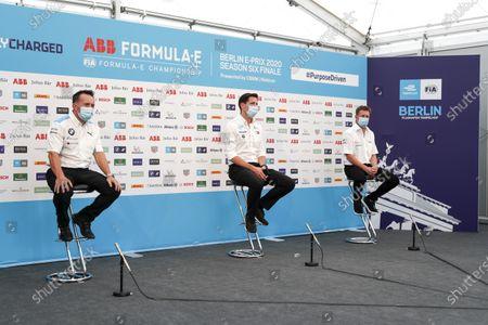 Roger Griffiths, Team Principal, BMW i Andretti Motorsport, Ian James, Team Principal, Mercedes-Benz EQ  and Allan McNish, Team Principal, Audi Sport Abt Schaeffler in the press conference