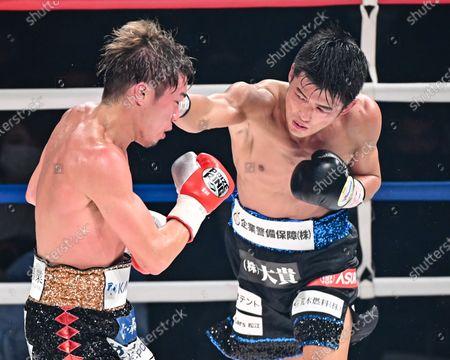 (L-R) Masayuki Ito, Hironori Mishiro - Boxing : 10R lightweight bout at Sumida City Gymnasium in Tokyo, Japan.