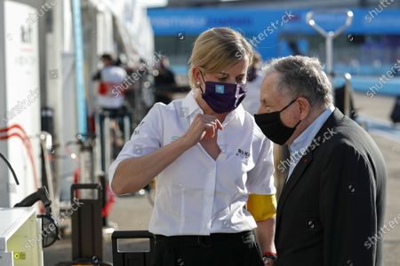 Susie Wolff, Team Principal, Venturi chats with Jean Todt, FIA President