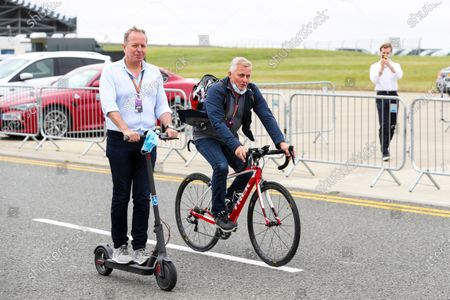 Martin Brundle, Sky TV and Johnny Herbert, Sky TV on a bike and a scooter