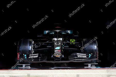 The Lewis Hamilton, Mercedes F1 W11 EQ Performance with a horse shoe symbol on the nose, in tribute to Sir Stirling Moss, in the team's garage