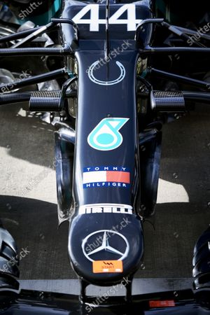 The Lewis Hamilton, Mercedes F1 W11 EQ Performance with a horse shoe symbol on the nose, in tribute to Sir Stirling Moss