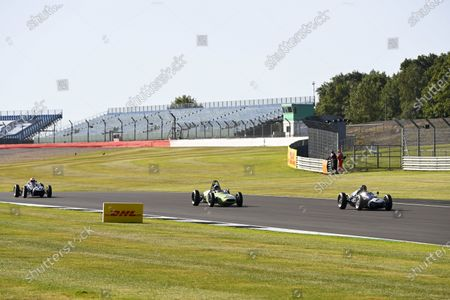 Martin Brundle, Johnny Herbert and Jenson Button, Sky Sports F1, drive classic F1 cars around the Silverstone circuit for an upcoming Moss feature