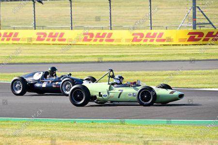 Martin Brundle and Johnny Herbert, Sky Sports F1, drive classic F1 cars around the Silverstone circuit for an upcoming Moss feature