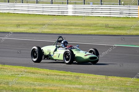 Johnny Herbert, Sky Sports F1, drives a classic F1 car around the Silverstone circuit for an upcoming Moss feature