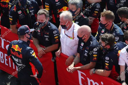 Max Verstappen, Red Bull Racing, 1st position, talks with Christian Horner, Team Principal, Red Bull Racing, Helmut Marko, Consultant, Red Bull Racing, and Adrian Newey, Chief Technical Officer, Red Bull Racing, in Parc Ferme
