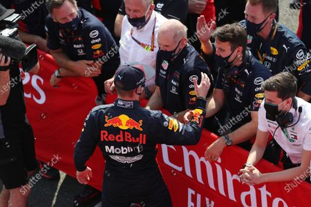 Max Verstappen, Red Bull Racing RB16, 1st position, celebrates with Christian Horner, Team Principal, Red Bull Racing, Helmut Marko, Consultant, Red Bull Racing, Adrian Newey, Chief Technical Officer, Red Bull Racing, and his team in Parc Ferme