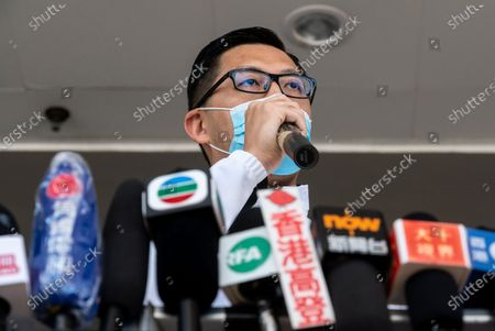 Lam Cheuk-ting, former Democratic Party lawmaker, talks to the press outside the Eastern Magistrates' Courts in Hong Kong, China, 28 December 2020. Lam was charged for allegedly disclosing the identity of a person under the investigation by the Independent Commission Against Corruption (ICAC) in relations to a July 2019 mob attack on bystanders in the suburb of Yuen Long.