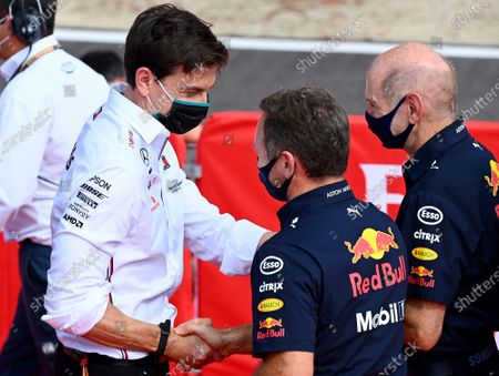 Toto Wolff, Executive Director (Business), Mercedes AMG congratulates Christian Horner, Team Principal, Red Bull Racing and Adrian Newey, Chief Technical Officer, Red Bull Racing for Max Verstappens win.