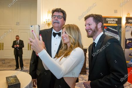 NASCAR President Mike Helton with Dale Earnhardt Jr. and girlfriend Amy Reimann