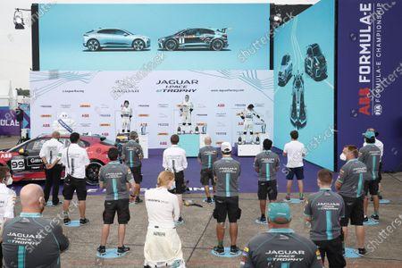 Stock Picture of Simon Evans (NZL), Team Asia New Zealand 1st position,  Cacá Bueno (BRA), ZEG iCarros Jaguar Brazil, 2nd position and Sérgio Jimenez (BRA), ZEG iCarros Jaguar Brazil, 3rd position on the podium