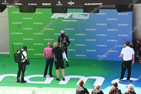 Lewis Hamilton, Mercedes-AMG Petronas F1, is interviewed by Johnny Herbert, Sky TV, after securing his 92nd pole in F1