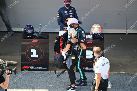 Pole man Lewis Hamilton, Mercedes-AMG Petronas F1, with Angela Cullen, Physio for Lewis Hamilton, after Qualifying