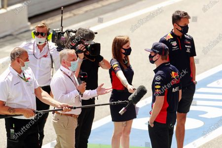Max Verstappen, Red Bull Racing, is interviewed by Johnny Herbert of Sky television