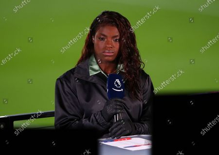Eniola Aluko during an Amazon Prime broadcast before the English Premier League soccer match between Crystal Palace and Leicester City at Selhurst Park stadium in London, Monday, Dec., 28, 2020