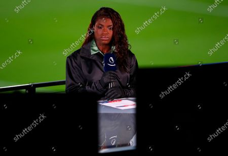 British-Nigerian commentator, the director of women's football at Aston Villa, Eniola Aluko, at the TV stand ahead of the English Premier League soccer match between Crystal Palace and Leicester City in London, Britain, 28 December 2020.
