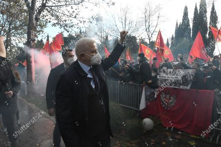 Former Prime Minister of Montenegro Dusko Markovic shows support during a protest against the new government in Podgorica, Montenegro, 28 December 2020. Several thousand rallied in front of the Parliament in Podgorica, accusing the new government of being pro-Serb because of its plans to amend the disputed religious property law.