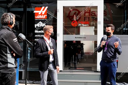 Presenter David Coulthard, Channel 4 F1, and Steve Jones, Channel 4 F1, interview Guenther Steiner, Team Principal, Haas F1